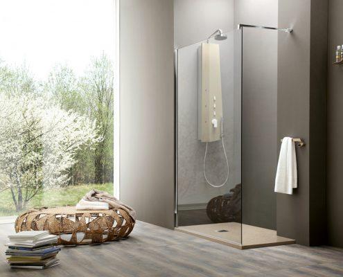 Arblu_bagno_box doccia_piatto doccia_sagomabile_vetro trasparente_profilo cromatowalk in_essecasa