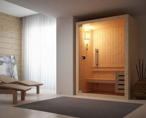 Novellini_Grandform-Sauna_porta battente_vetro trasparente_essecasa