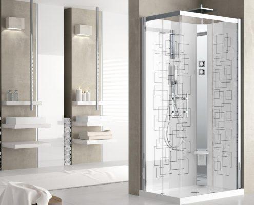 Novellini_bagno_box doccia_piatto doccia_bianco_vetro trasparente_profilo cromato_stampa sul vetro_essecasa